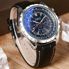 JARAGAR Genuine Leather Band Mechanical Automatic Aviator Mens Black Wrist Watch