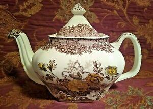 Masons Ascot Patent Ironstone Brown White Yellow Flowers Teapot
