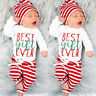 Toddler Infant Baby Boy Girl Romper Tops+Striped Pants+Hat Christmas Outfits Set