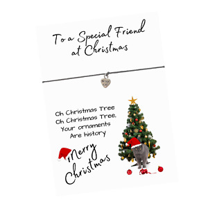 Christmas Cat Kitten Verse Card with Cat Heart or Christmas Charms Wish Bracelet