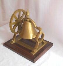 Brass Ship's Bell With Mount Pulley Wheel Desk Bell on Wood Base
