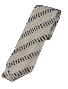 NWT - Drake's – Off-White Grenadine Silk Tie w/Navy Repp Stripe