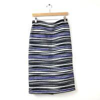 Ann Mashburn Skirt 8 Blue Black White Striped Textured Pencil Women's Career