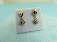 9ct 9Carat Yellow Gold Diamond Drop Earrings, 0.10ct butterfly fittings