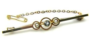Ladies women's 15carat 15ct yellow Gold Brooch with Pearls & Topaz Stone.