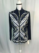 Charter Club Womens Multicolored Belt Pattern Zip Up Jacket Petite Large NWT