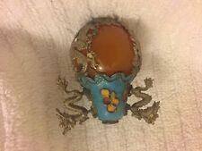 Amber Turquoise Enamel Asian Oriental Silver Tone Dragon Flower SNUFF BOTTLE TOP