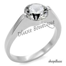 2.05 Ct Round Cut Stainless Steel AAA CZ Engagement Ring Band Women's Size 5-10