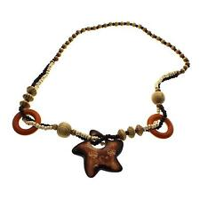 Men Women Vintage Wooden Pentagram Rosary Beads Sweater Chain Pendant Necklace