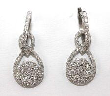 Fine Pear Round Cut Diamond Cluster Drop Dangle Earrings 18K White Gold 2.15Ct