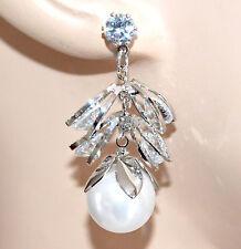 ORECCHINI ARGENTO PERLA donna cristalli pendenti sposa eleganti matrimonio A10