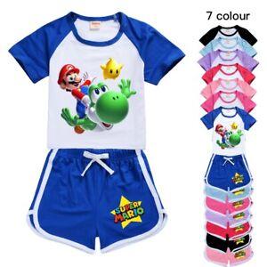 Kids Super Mario Short sleeve Casual T Shirt Top+Shorts Boys Girls Pyjamas Set