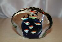 MURANO Art Glass Aquarium Paperweight Sculpture Clamshell Shaped 12 Fish