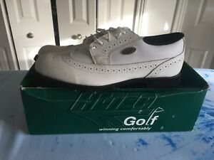 brand new hi-tec white leather golf shoe size 8 soft nylex lining , waterproof