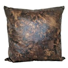 "Faux Leather Brown/Black Golden Effects 18x18"" Decorative Pillow / Cushion Cover"