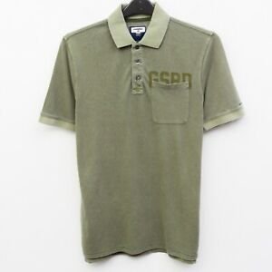G STAR RAW Graphic 3pkt Polo Men's M Shirt Khaki Cotton Formal Short Sleeve Top