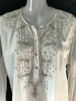 Vintage Peter Alexander Tunic Top - Intricate Crystal Beaded  Cotton Shirt: M
