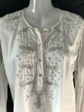 Vintage Peter Alexander Tunic Top - Hand Intricate Glass Beaded  Cotton Shirt: M