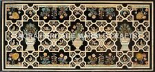 6'x3' Black Marble Dining Center Conference Table Top Marquetry Inlaid H4830A