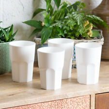 Set of 4 350ml White Reusable Plastic Drinking Glasses Hi-ball Tumblers Bar Cup