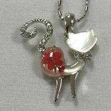 JEWELLERY PENDANT REAL FLOWERS CAT (Curly tail pink standing)