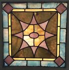 OLD LEADED STAINED GLASS WINDOW PANEL WITH HOOKS MOVING SALE REDUCTION