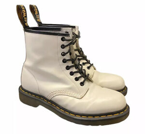 Dr Martens 1460 White Patent Leather 8 Eyelet Ankle Boots UK 6 (BZ)