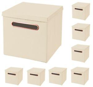 8x Luxus Rosegold Griff Faltbox in Creme 32,5 x 32,5 x 32,5 cm Aufbewahrungsbox