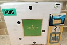 New Kate Spade King Bed Sheet Set 4pc Nip White Cotton Mini Blk Polka Deco Dots