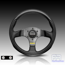 MOMO TEAM 280mm Tuning Steering Wheel + Horn - Black Leather Airleather insert