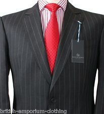 BNWT Chester Barrie SAVILE ROW Charcoal Grey Striped Suit UK42 + CB Suit Carrier