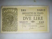 DUE DVE 2 LIRE MONETA REPUBBLICA ITALIANA CARTA ORIGINALE BANCONOTA NUMERATA