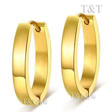 T&T 14k Gold GP Stainless Steel U Sharp Hoop Earrings Large (EH31J)