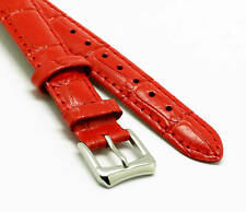 14mm Red Genuine Leather Watch Band Crocodile Grain With 2 Spring Bar