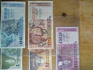 Irish 1/5/10/20 & 50 Pound Bank Notes - B Series Central Bank of Ireland