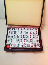 Vintage Mahjong Set Game 148 Tiles Mah Jong 4 Dice Green Bottom