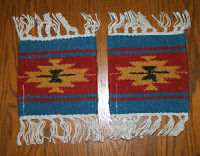 "2 Coasters Table Rugs 6x6"" Handwoven Wool Absorbent Southwest Fringed New #52"