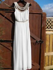 Gorgeous Red Carpet Crystal Diamante Embellished White Maxi Dress TFNC Wedding