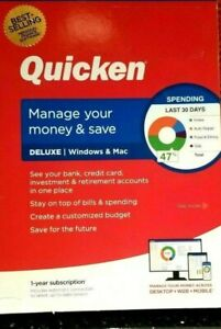 QUICKEN DELUXE 2021 FOR PC & MAC, CD INCLUDED , 1 YR SUBSCRIPTION, NEW & SEALED