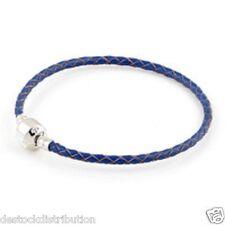 Bracelet Charms Cuir tréssé  Bleu Marine -Fermoir Clip-Argent Plaqué - 20 cm