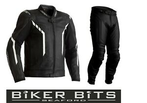 RST AXIS 2020 Black/White CE Men's Leather Budget Jacket & Trousers 2PC Set