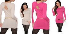 Damen Sexy  Lang Longpulli mit Rücken-Ausschnitt Pullover Kleid Gr 34 36 38 40