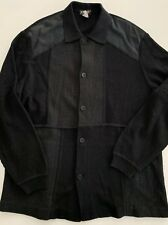 TORRAS Mens Black Suede Leather Acrylic and Wool Knit Cardigan Jacket Size XL