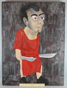 1970s Rebecca Goyette Outsider Folk Art Canvas Oil Painting Richard Nixon Knives