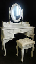 NEW 7 DRAWER FRENCH PROVINCIAL COUNTRY DRESSING TABLE DESK MIRROR + FREE STOOL