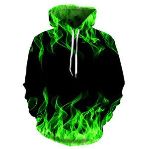 Men's Women's Casual Hoodie Couple 3D Print Flame Hoodie Coat Sweatshirt T shirt