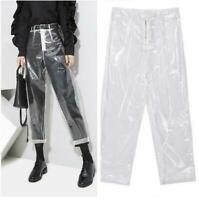 New Womens Fashion Transparency PVC Trousers High Waist Straight Leg Clear Pants