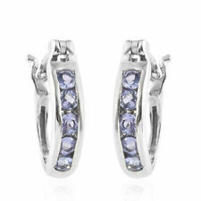 TJC Tanzanite Hoop Earrings in Platinum Plated Sterling Silver Women Hoops 1 Ct
