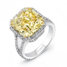4.16 Carat Fancy Light Canary Yellow Radiant Cut Diamond Ring VS2 GIA CERTIFIED