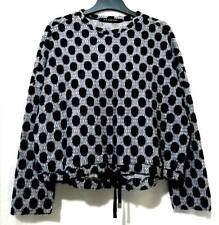 H'S cabinet wool polka dots blue and grey sweater top